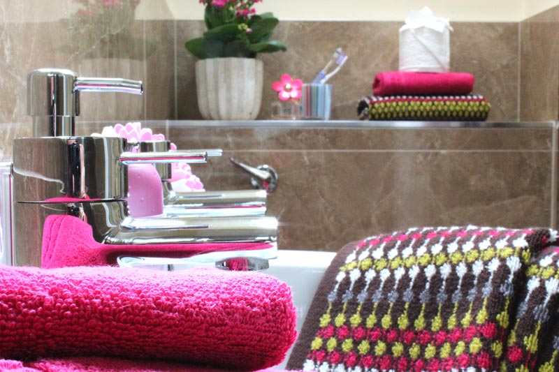 Close up of one of our apartment's beautifully finished en-suite bathrooms