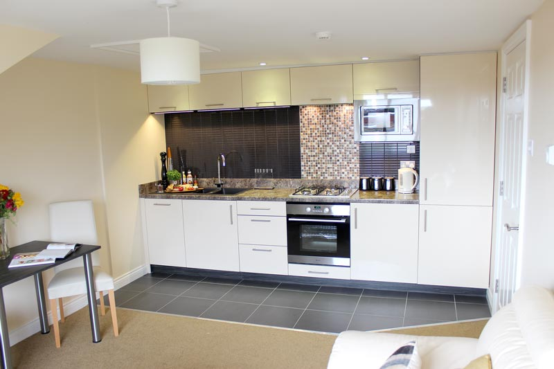 Self-catering apartment kitchens within our business accommodation